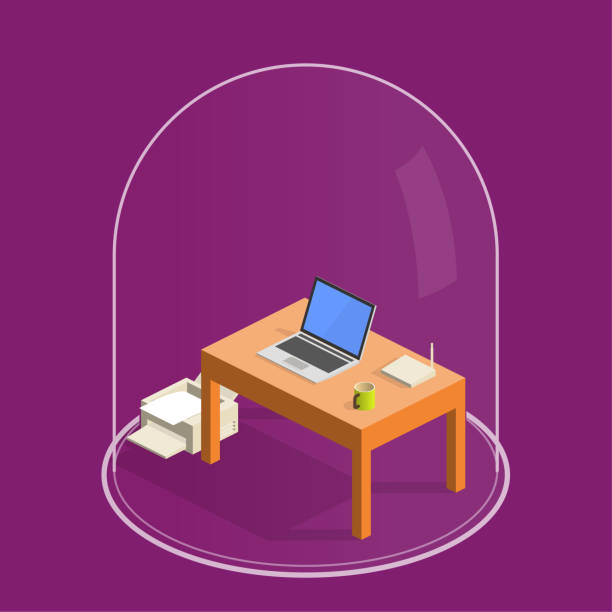 illustrazioni stock, clip art, cartoni animati e icone di tendenza di home office - lockdown