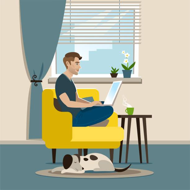 stockillustraties, clipart, cartoons en iconen met kantoor aan huis - jonge mannen