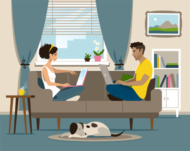 Home office Young couple working at home. young couple stock illustrations