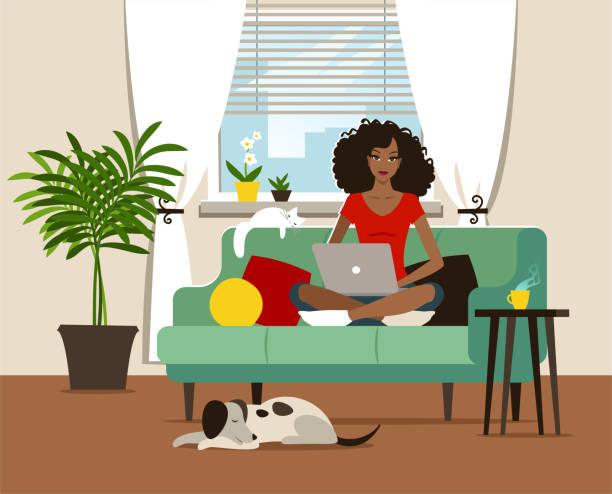 ilustraciones, imágenes clip art, dibujos animados e iconos de stock de oficina en el hogar - black people
