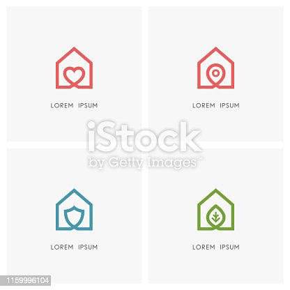Home outline set. House with heart, place mark, shield and green leaf symbol - love and family, address pointer, safety and security, agriculture and ecology icons.