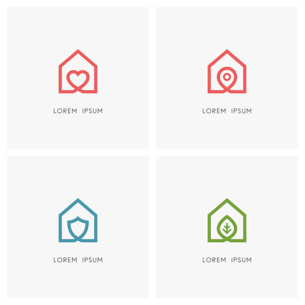 Home outline set Home outline set. House with heart, place mark, shield and green leaf symbol - love and family, address pointer, safety and security, agriculture and ecology icons. sheltering stock illustrations