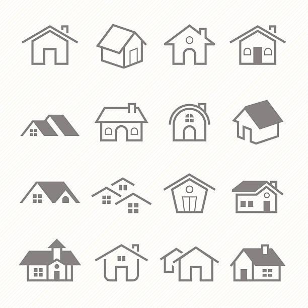 Home outline stroke symbol vector icons vector art illustration