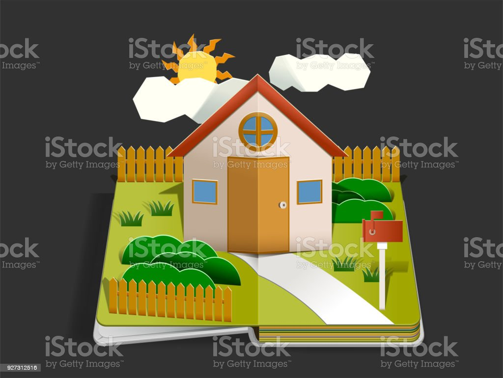 Home Paper cut pop up design concept. Living with happy family in home. Storytelling by book.