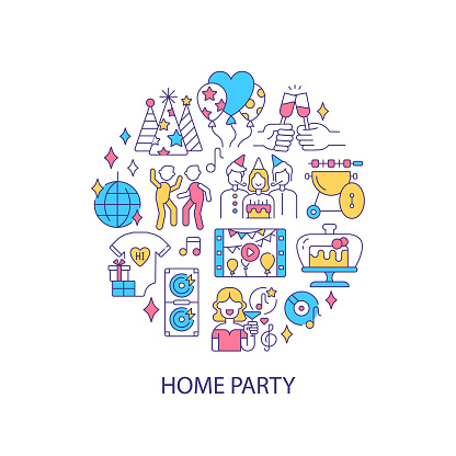 Home party abstract color concept layout with headline