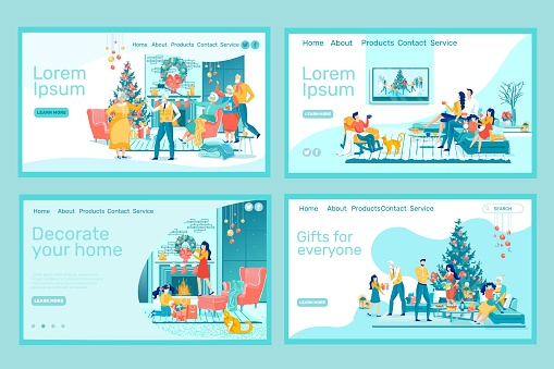 Home Party at Winter Holidays Landing Page Set