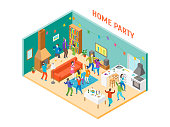 Home Party Interior with Furniture and People Isometric View Happiness Man and Woman. Vector illustration of House Celebration