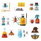 Home pest control expert exterminator service flat icons set with