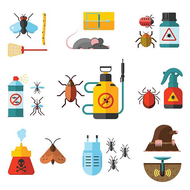 startseite schädlingsbekämpfung erfahrenen kammerjäger dienst flat symbole satz mit - mückenfalle stock-grafiken, -clipart, -cartoons und -symbole