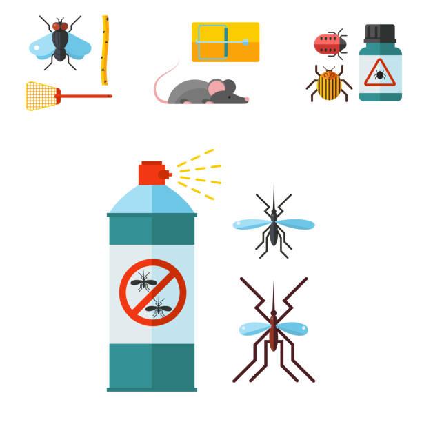 nach hause schädling experte ungeziefer kammerjäger dienst insekt thripse ausrüstung flache steuerelementsymbole vektor-illustration - mückenfalle stock-grafiken, -clipart, -cartoons und -symbole