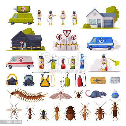 istock Home Pest Control Service Set, Exterminating and Protecting Equipment, Harmful Insects Vector Illustration 1255215198