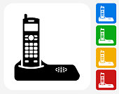 Home Phone Icon Flat Graphic Design