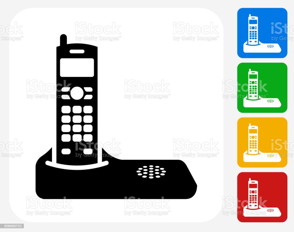 Home Phone Icon Flat Graphic Design Vector Art Illustration
