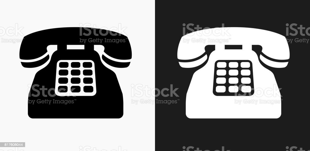 Home Phone Icon On Black And White Vector Backgrounds Stock Vector