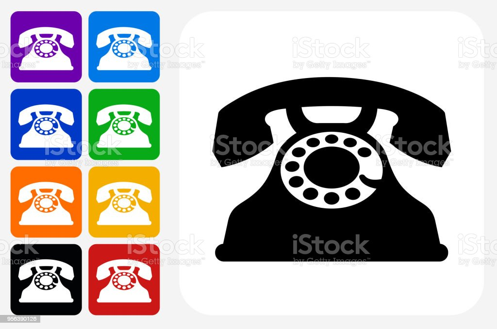 Home Phone Icon Square Button Set Stock Vector Art More Images Of