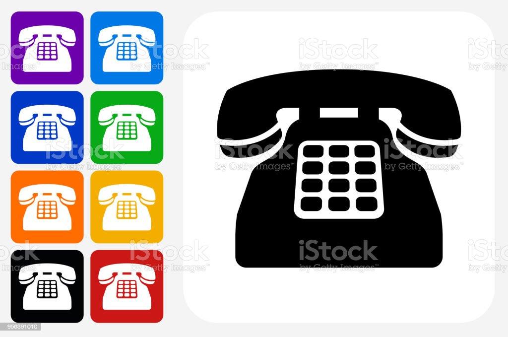 Home Phone Icon Square Button Set Stock Illustration