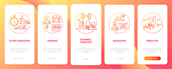 Home physical activity onboarding mobile app page screen with concepts
