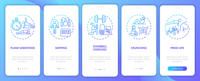 Home physical training onboarding mobile app page screen with concepts