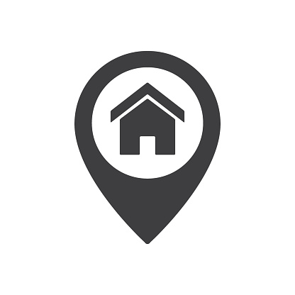 Home point location sign. House map pointer icon