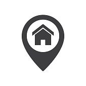 Vector illustration flat design of home point location sign. House map pointer icon isolated on white background.