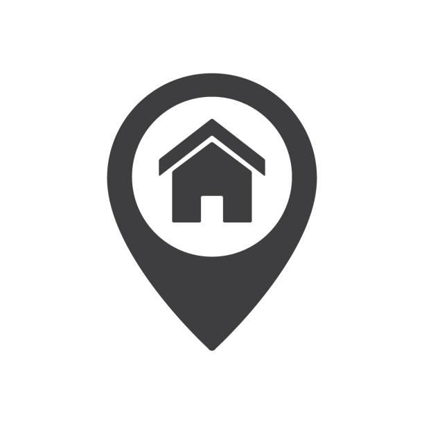 illustrazioni stock, clip art, cartoni animati e icone di tendenza di segno di posizione del punto iniziale. icona del puntatore della mappa della casa - casa
