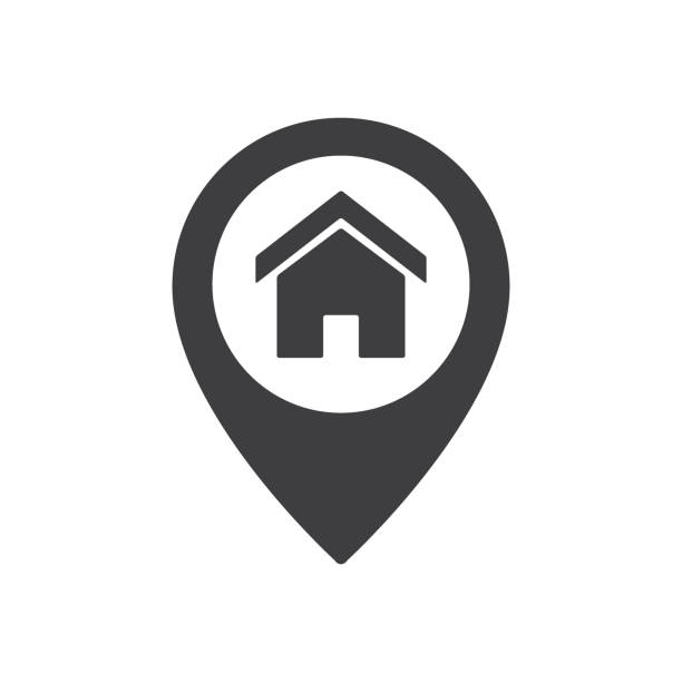 home point location sign. house map pointer icon - home stock illustrations