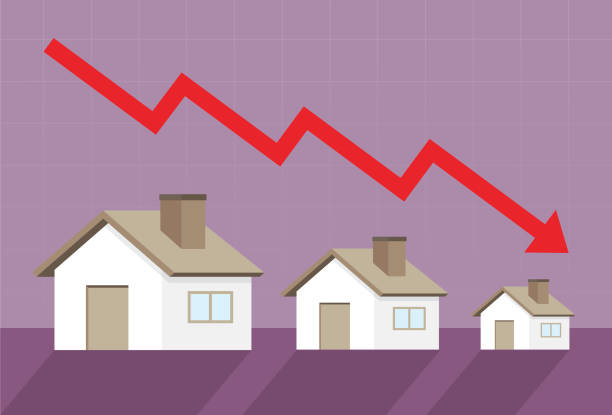Home prices go down Graph, Market - Retail Space, Residential Building, Built Structure, Chart budget silhouettes stock illustrations