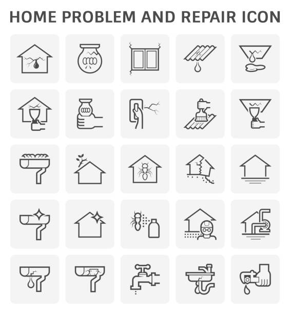 home problem icon Home problem and repair service icon set design. damaged stock illustrations