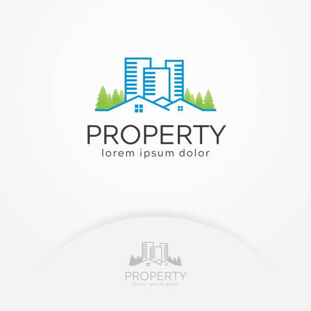 home property logo - real estate logos stock illustrations, clip art, cartoons, & icons
