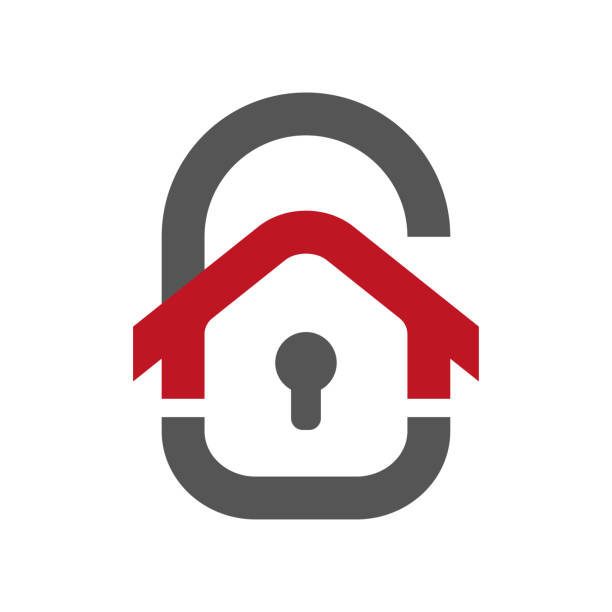 Home protection icon. House in the form of a door lock. Protection vector icon for web design isolated on white background. Home guard concept. EPS 10 vector art illustration
