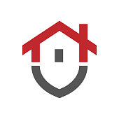 Home protection logo design template. Vector shield and house logotype illustration. Graphic home security icon label. Modern building alarm symbol. Security sign badge. EPS 10