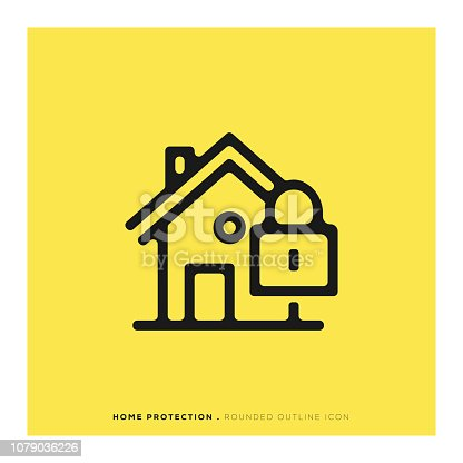 Home Protection Rounded Line Icon