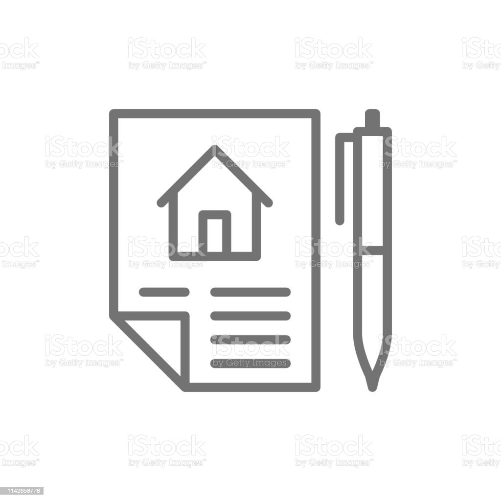 home purchase contract sale of real estate lease line icon stock illustration