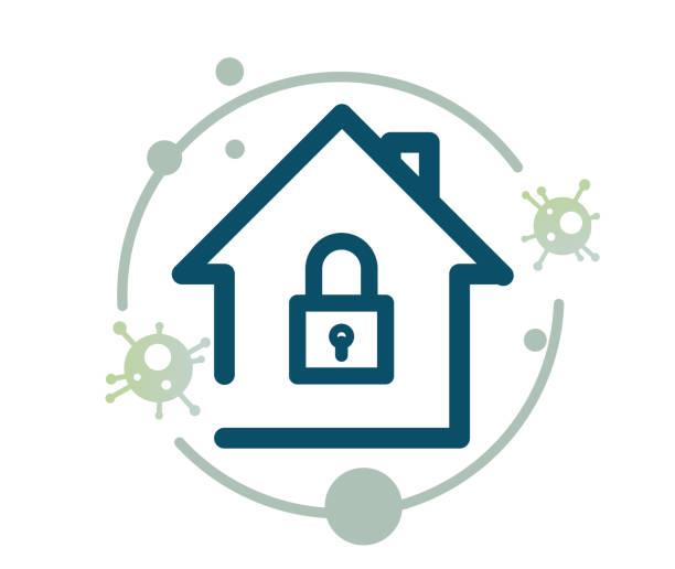 illustrazioni stock, clip art, cartoni animati e icone di tendenza di home quarantine - 21 days lockdown - icon - lockdown