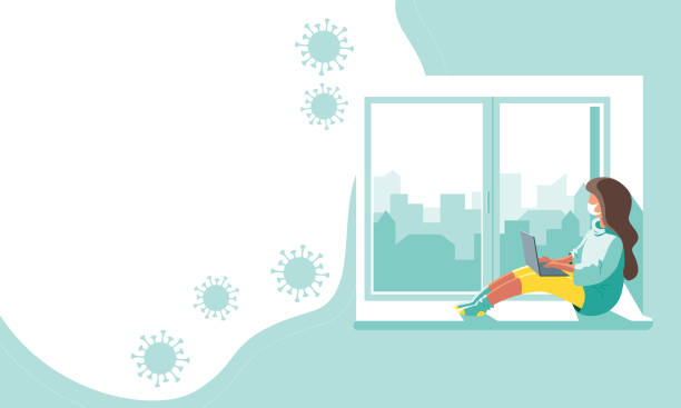 home quarantine Character of a girl in a protective medical mask with a computer at home quarantine. Isolation concept of a house during the coronavirus pandemic. Copy space banner design. Vector stock illustration. corona sun stock illustrations