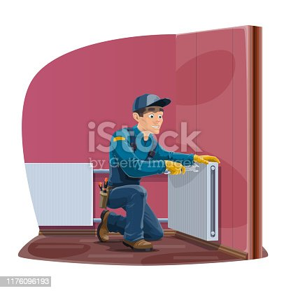 istock Home radiator and heating convector repair service 1176096193