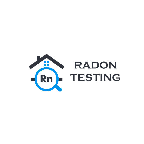 stockillustraties, clipart, cartoons en iconen met thuis radon testservicelogo. rn vervuiling eerste alert kit, sanering logotype. gevaarlijke giftige chemische elementopsporing bedrijf vectorillustratie. - radon test