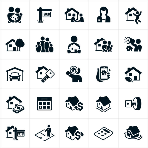 Home Real Estate Icons A set of home real estate icons. The icons include realtors, families, homes, a new house, purchasing a home, marketing real estate, garage, house key, searching for a new home, online listing, calendar, cost of purchasing, for sale sign, sold sign and a calculator to name just a few. house key stock illustrations