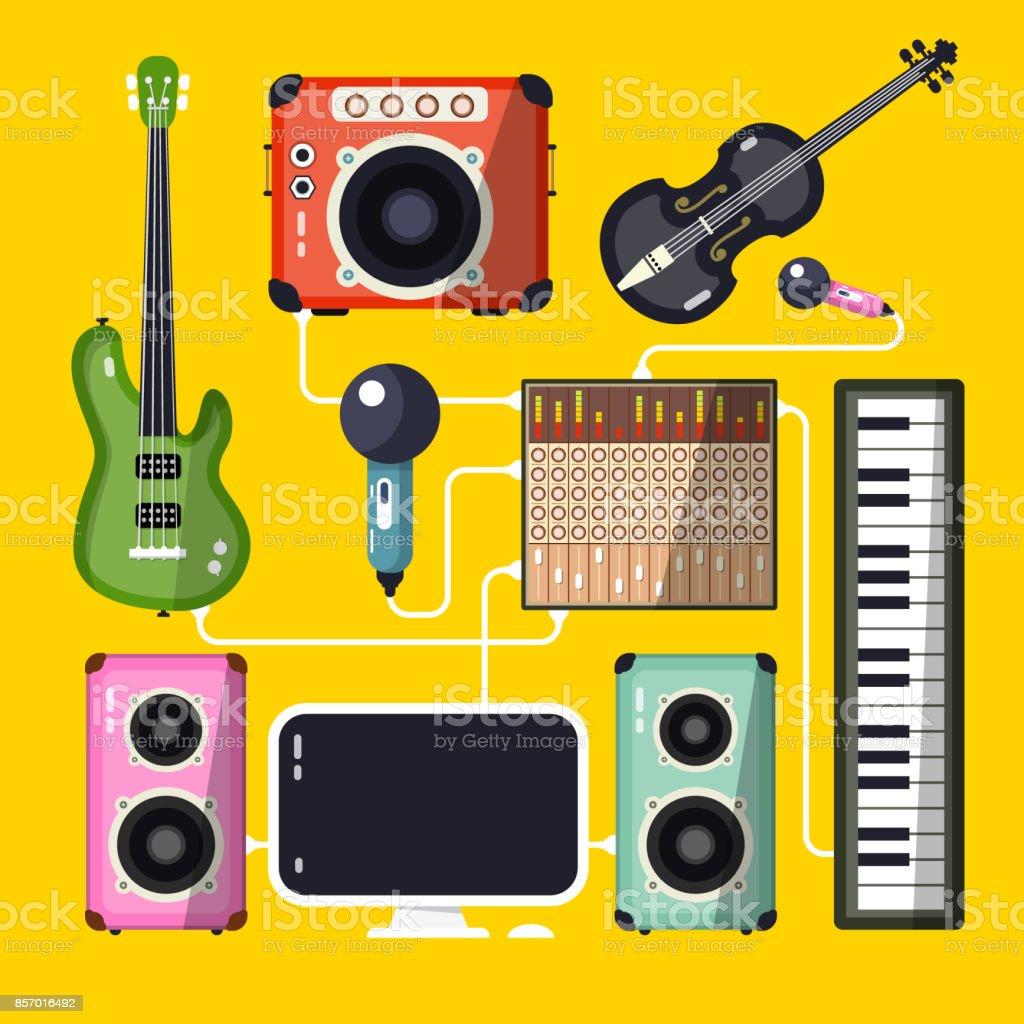 Home Recording Studio vector art illustration