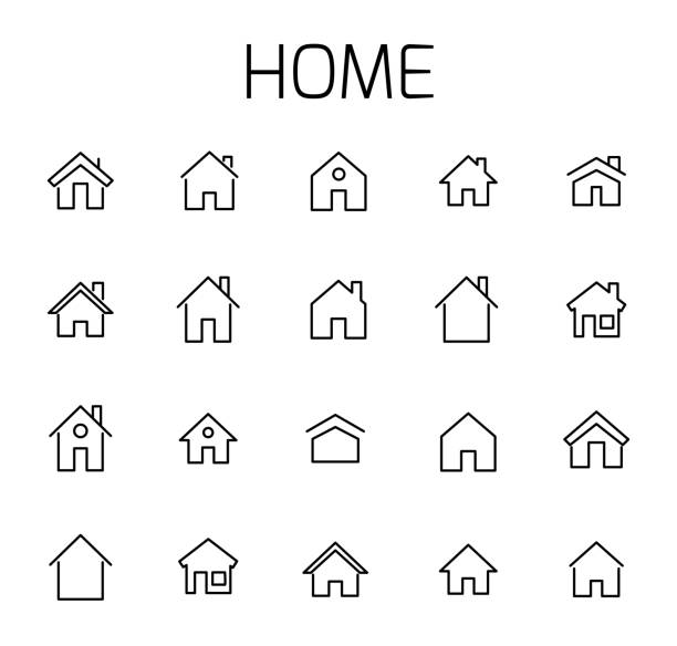 Home related vector icon set. Home related vector icon set. Well-crafted sign in thin line style with editable stroke. Vector symbols isolated on a white background. Simple pictograms. ducking stock illustrations