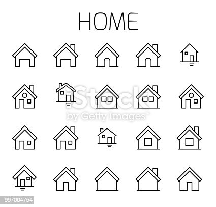 Home related vector icon set. Well-crafted sign in thin line style with editable stroke. Vector symbols isolated on a white background. Simple pictograms.
