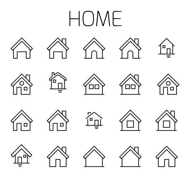 illustrazioni stock, clip art, cartoni animati e icone di tendenza di set di icone vettoriali correlate alla hometà. - casa