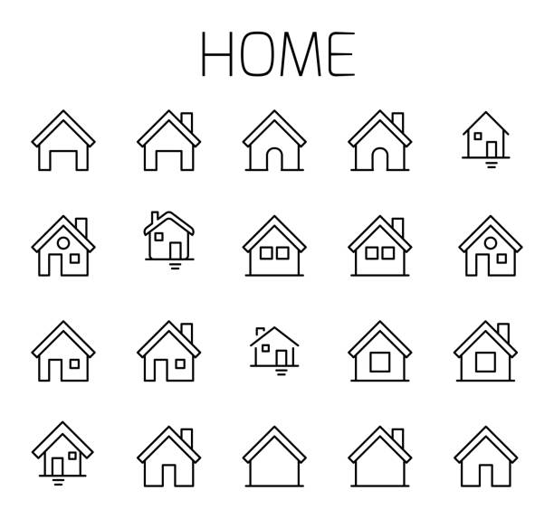 home gebundene vektor icon-set. - haus stock-grafiken, -clipart, -cartoons und -symbole