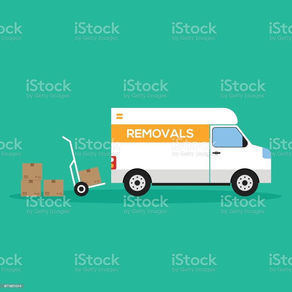 Home removal and transportation concept flat design vector art illustration