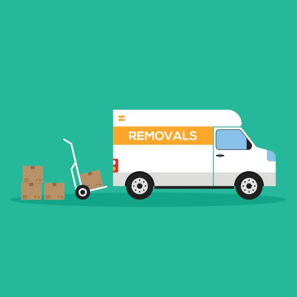 439921a4383c16 Home removal and transportation concept flat design vector art  illustration. Free Delivery Trucks ...