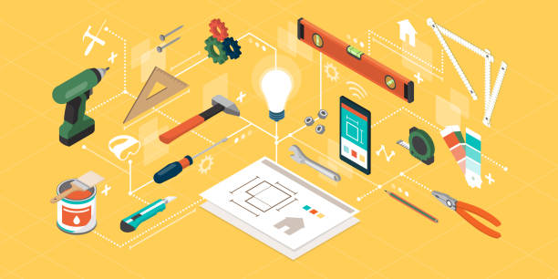 DIY, home renovation and creative projects DIY, home renovation and creative projects: isometric tools, smartphone and construction equipment diy stock illustrations