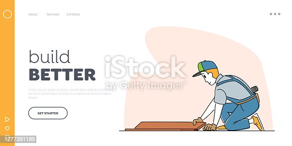 istock Home Renovation and Repair Carpentry Works Landing Page Template. Laminate Flooring Service. Worker Character with Tools 1277391185