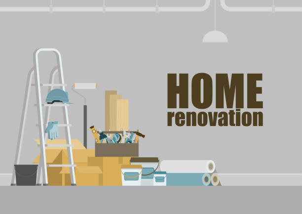 Home renovation background Grey room with stepladder, toolbox, construction materials, hanging pipe and lamp, for home renovation concept renovation stock illustrations