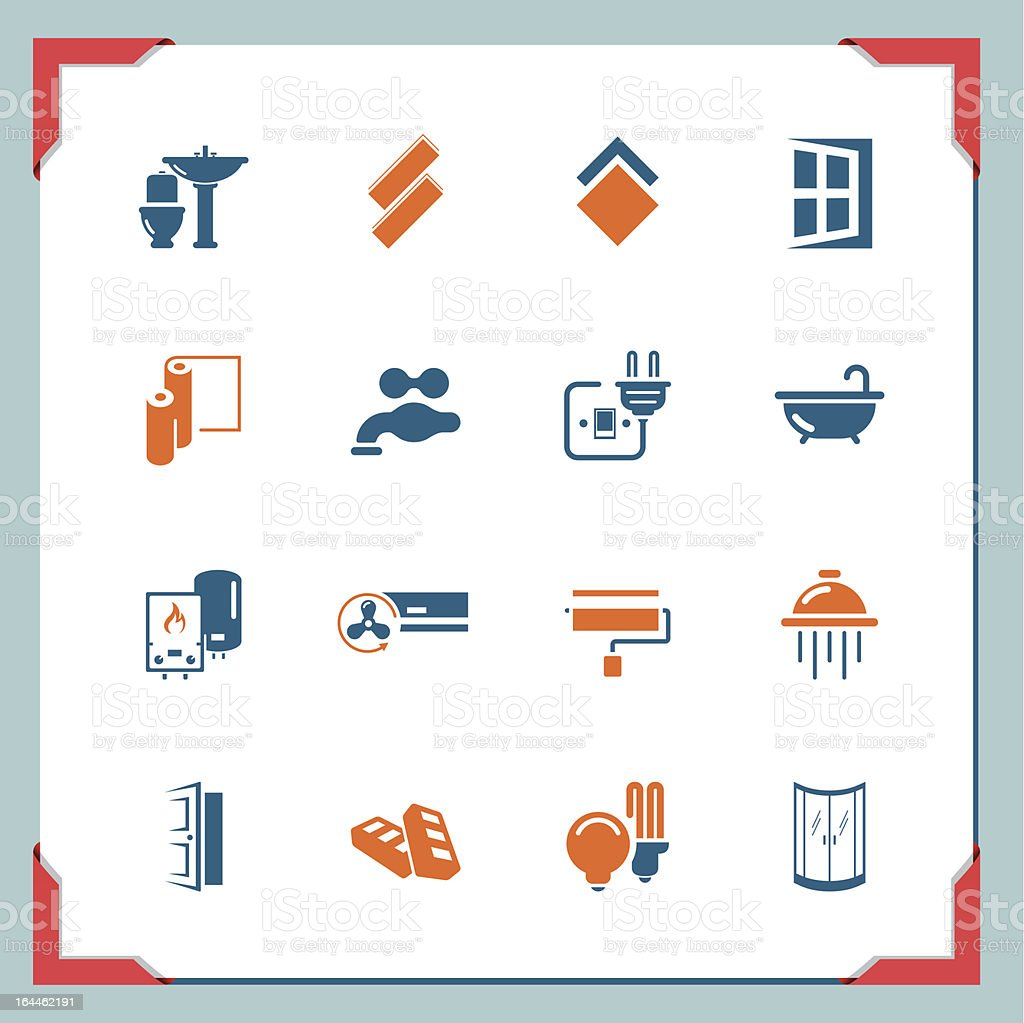 Home renovation icons | In a frame series vector art illustration