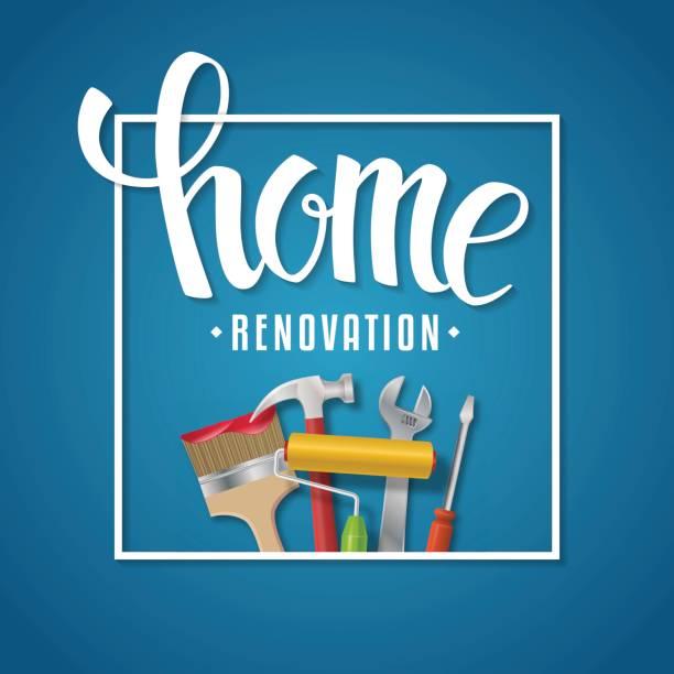 illustrations, cliparts, dessins animés et icônes de lettrage de rénovation domiciliaire. - logo peintre en batiment